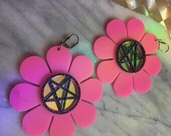 Pentagram Flower Power Earrings