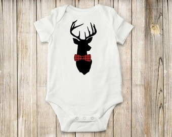 Deer & Plaid, Bowtie, onesie,  bodysuit, children clothing, baby, tops,shirt, deer