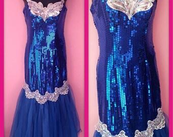Vintage 1980s Blue Sequined Party Prom Dress Mermaid Barbie