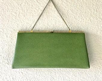 Vintage 1950's evening bag OLIVE GREEN After Five clutch purse