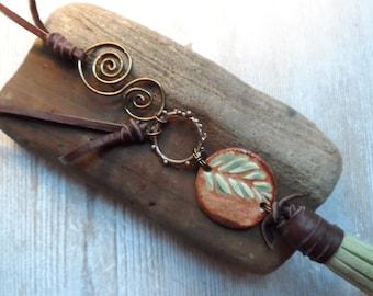 Tassel Necklace Pottery Essential Oil Pendant