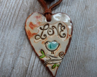 Essential Oil Diffuser Pendant Fall Aromatherapy  Love Jewelry  Colors  Pottery Necklace