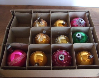 SALE Vintage Mercury Glass Ball Ornament Collection with Glitter Detail