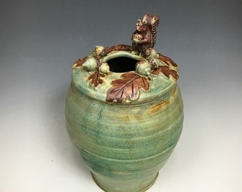 Handmade Pottery Squirrel Acorn and Oak Leaves Large Vase