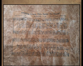Amazing Grace Printed Music Sheet- 8 x 10 print- on 32 Count Linen- For Amazing Grace Little White Church X-Stitch Pattern