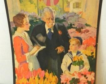 vintage print people in flower garden ephemera altered art collage advertising