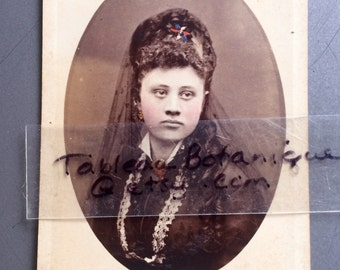 Antique CDV Photo - Beautiful Woman in Mourning - Long Hair -  Tinted - Veil - Victorian Photo