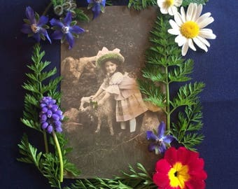 Vintage German Postcard - Antique Photo - Spring - Girl with Lamb