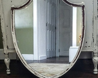 Vintage Shield Mirror/Large Vintage Mirror/Chippy White Mirror/Shabby White Mirror/Cottage Chic