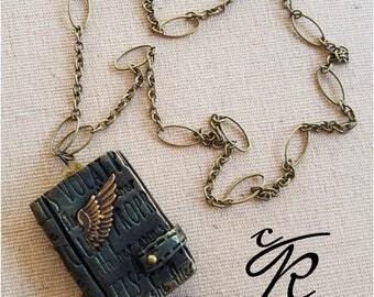 She Flies with her Own Wings  Polymer Clay Open Book Pendant and Necklace