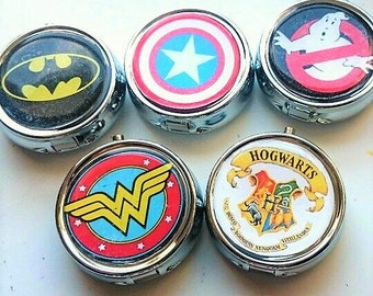 Geek Inspired Pill Box, Personalized Pill Box, Custom Pill Box, Gifts for Her, Bridesmaid Gift, Trinket Box Storage,