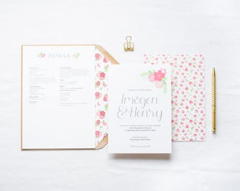 Kate - Pink & Floral Wedding Invitation | Floral Hand Lettered Wedding Stationery | Customisable Wedding Invites