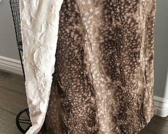 Baby Blanket, deer skin blanket, minky blanket, minky baby blanket 29 x 40, baby shower gift, fawn baby blanket