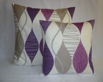 "Purple PAIR Pillow Covers Damson Grape 4 CHOICES Mix Match Designer Gray Cushion Covers Shams Slips Scatter Throw PAIR 16"" (40cm)"