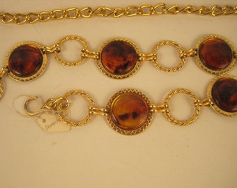Vintage Gold and Tortoise Chain Belt