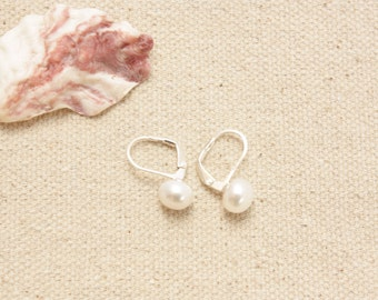 White Freshwater Pearls with Sterling Silver Earrings, Cultured Pearls, Button Pearls, Sterling Silver Lever Ear Wires, Ready to Ship