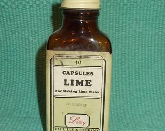 Vintage Small EMPTY Brown Apothecary or Medicine Bottle-LIME Capsules-Eli Lily & Co.