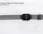 SECONDS - The Field Strap for Apple Watch -Galloper Black and Gray Cordura with Black Hardware 42mm