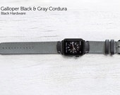 The Field Strap for Apple Watch - Galloper Black and Gray Cordura with Black Hardware 42mm