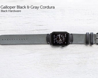 The Field Strap for Apple Watch - Galloper Black and Gray Cordura with Black Hardware 42mm | Leather Apple Watch Band, Apple Watch Strap