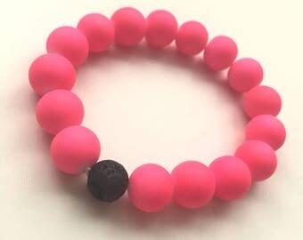 Pink Diffuser Bracelet, Lava Bead