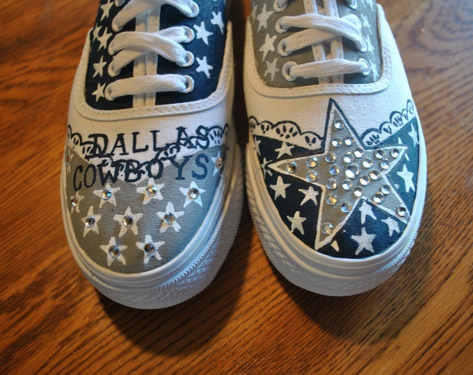 New Platform Custom Hand Painted Cowboys sneakers 8.5 with bling... sorry sold