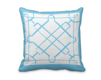 Blue Hand Made Pillow Cover, Blue Lattice Pillow Cover, Geometric Throw Pillow Cover, Lattice Throw Cushion Cover
