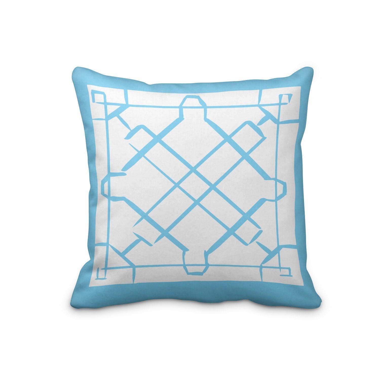 Blue Lattice Throw Pillow : Blue Hand Made Pillow Cover Blue Lattice Pillow Cover