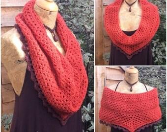 Crochet Caplet Cowl Scarf, Poncho, Shawl, Wrap