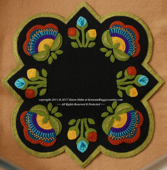 Wool applique pdf pattern jacobean round square table for Round table runner quilt pattern