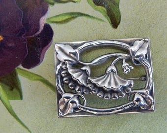 Square Sterling Silver Floral Brooch    OD41