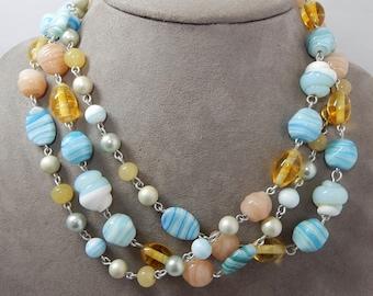 Vintage Blue & Gold Art Glass Long Bead Necklace    OM41
