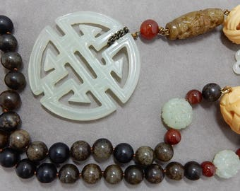 Antique Carved Jade Chinese Pendant Necklace w/ Natural Stone Bead Chain    OAT3