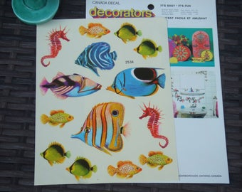 Vintage decorators Decals. Colorful Fish. Sheet With 14 Individual Decals. Canada Decal. English and French Instructions.