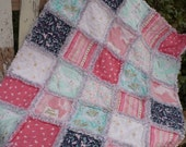 Baby Girl Rag Crib Quilt - Magic Stars Mermaids Unicorns Flowers in Pretty Pink Mint Navy and White with Gold Highlights Ready to Ship