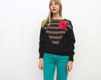 Sweater Angora 80s Black Sz. M