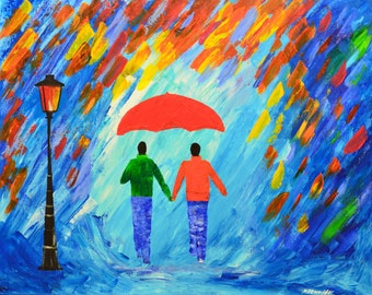 "couple paintings love rain original oil painting rainy magic colorful 30x24"" artist Mariana Stauffer impressionist palette knife"