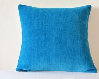 Turquoise Cotton Velvet Pillow , Turq Velvet Cushion Cover , Blue Decor Pillow , Blue  Cotton Velvet Throw Pillow , Blue Velvet Cushion