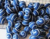 Felt Balls- Blue Swirl- 10 Pk- 25mm