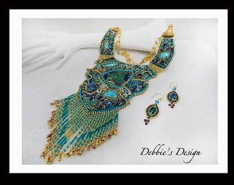 Women's Hand Beaded Necklace-148 Handmade Beaded Necklace, Beaded Necklace, Bead Embroidery, Aqua and Gold, Women fiber necklace