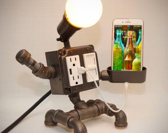 Steampunk Industrial Robot Lamp with Dimmer 2 USB charging ports 2 grounded outlets Smartphone Charging Cradle optional Apple Watch charger