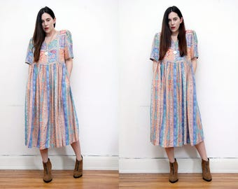 Vintage Floral Ditsy Trapeze Smock Maxi Dress 90's RARE