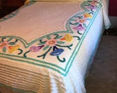 Vintage Chenille Bedspread with Border Flowers Cottage Style 88 by 101 Full Size Double Bed