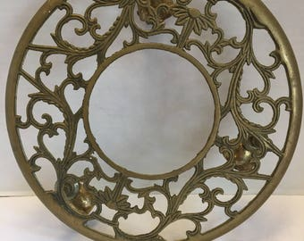 Vintage Gold Brass Rolling Plant Stand Ornate