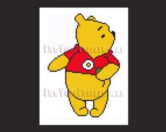 Winnie the Pooh Cross Stitch, Pooh Cross Stitch, Winnie, Winnie the Pooh, Crochet, Children's Cross Stitch, by NewYorkNeedleworks on Etsy