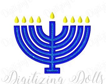 Menorah Applique Machine Embroidery Design 4x4 5x7 6x10 Holiday INSTANT Hanukkah DOWNLOAD