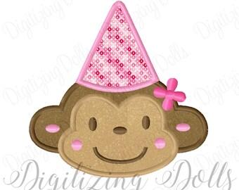 Birthday Monkey Girl Applique Machine Embroidery Design 2.5x2.5 4x4 5x7 6x10 Birthday Party Hat INSTANT DOWNLOAD