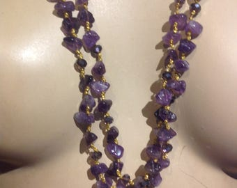 VERY Long 2 Strands AMETHYSTS Necklace AMETHYST Genuine