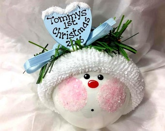 Baby's First 1st Christmas Ornament 2017 Color Choice Personalized Hand Painted Handmade Townsend Custom Gifts - F