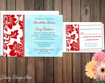 Wedding Invitation - Aqua Watercolor and Red Damask Border - Invitation and RSVP Card with Envelopes